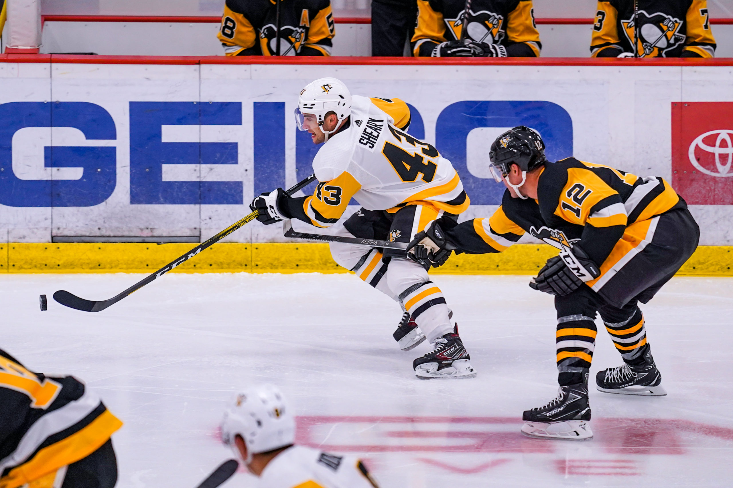 Conor Sheary Skates with the puck: Photo courtesy of Pittsburgh Penguins